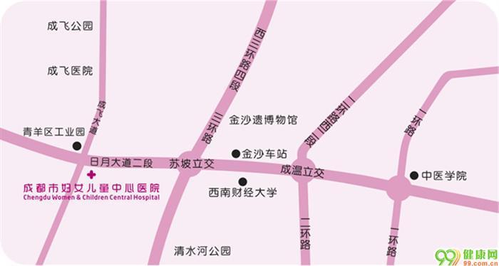 成都市妇女儿童中心医院交通路线图